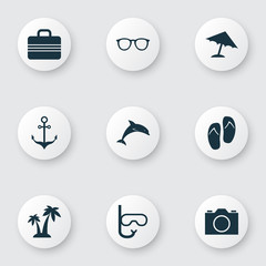 Icons Set. Collection Of Baggage, Parasol, Tube And Other Elements. Also Includes Symbols Such As Beach, Spectacles, Sunshades.