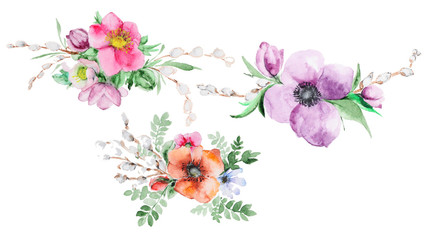 Set of Bouquets watercolor flowers