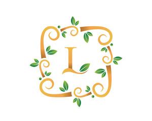Elegant Floral L Letter With Gold Branch Logo