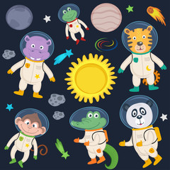 set of animals in space part 2 - vector illustration, eps