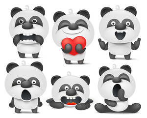 Set of panda cartoon emoji characters in different situations
