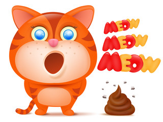 Striped ginger cat cartoon character with bunch of poop