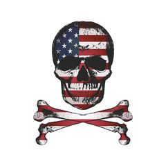 Vintage hand drawn skull in grunge style with USA flag texture.