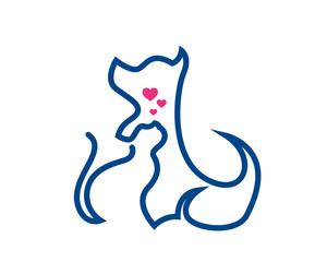 Modern Pet Logo - Cat And Dog Relationship Symbol