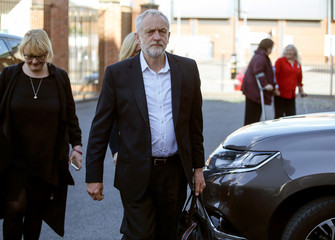 Jeremy Corbyn, the leader of Britain's opposition Labour Party, arrives to deliver a speech in Carlisle