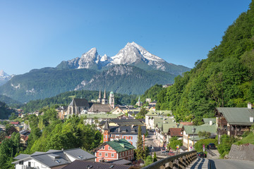 Panoramic view over Berchtesgaden with Watzmann, Bavaria, Germany
