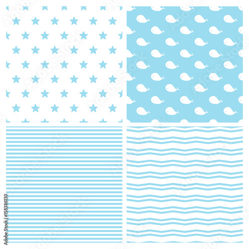 d8d2f20a2833 Set of vector patterns for baby boy in marine style. Cute whales ...