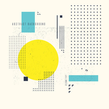 Modern abstract art geometric background with flat, minimalistic style. Vector poster
