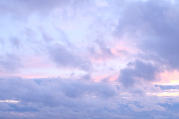 Colorful evening sky with fluffy clouds