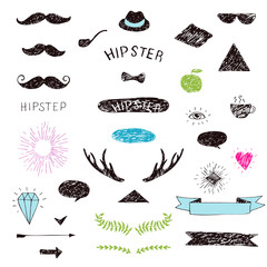 Set of hand-drawn hipster design elements. Vector isolated