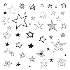 Set of doodle stars, vector isolated