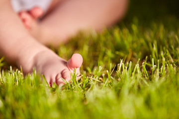 Close-up of little baby feet on green grass outdoors in the city park.