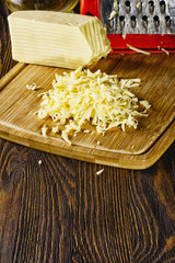 Grated shredded cheese on the table