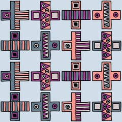 Seamless vector pattern. Colorful geometrical background with hand drawn decorative tribal elements. Print with ethnic, folk, traditional motifs. Graphic vector illustration.