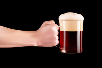 Hand Holding A Glass Of Cold Beer With Full Foam. Realistic hand with beer on black background.