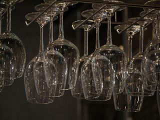 Wine glasses  on hanging rack