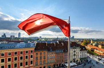 Poland Flag on centre of Warsaw Background