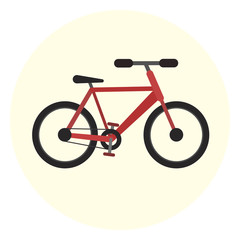 Flat red vector bicycle icon, colorful city ecological transport