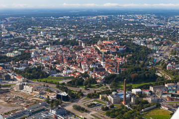 TALLINN, ESTONIA - AUGUST 15, 2016: Scenic summer aerial shot of the Old Town