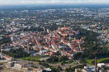 Scenic summer aerial shot of the Old Town in Tallinn, Estonia
