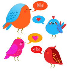 Cute kawaii birds with speech bubbles. Vector illustration, design elements, stickers