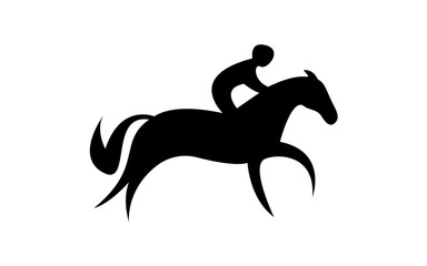 Simplified horse race.  Equestrian sport. Silhouette of racing horse with jockey. Jumping. First step.