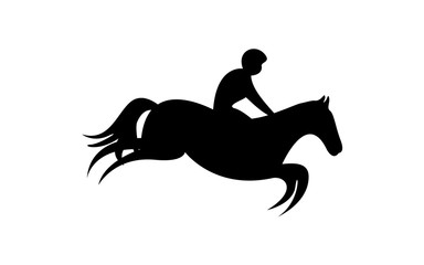 Simplified horse race.  Equestrian sport. Silhouette of racing horse with jockey. Jumping. Third step.