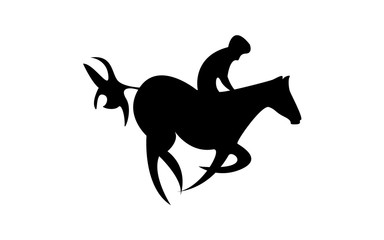 Simplified horse race. Equestrian sport. Silhouette of racing horse with jockey. Jumping. Fifth step.