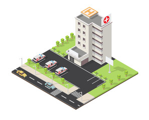 Medical isometric building infographics vector
