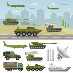 Military big set base infographics background with army for the war