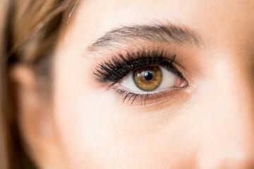 Closeup of a beautiful woman with makeup