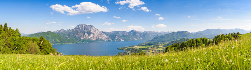 Lake Traunsee seen from Gmundnerberg, Salzkammergut, Upper Austria, Austria