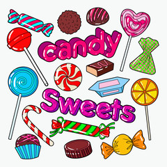 Candies Sweet Food Doodle with Chocolates and Lollipop. Vector illustration