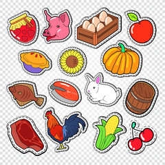 Agriculture Doodle with Bio Food. Natural Products Stickers, Patches and Badges. Vector illustration
