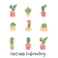 Embroidery Cactus icon set. Cute succulent fashion embroidery for fabric design or clothes in scandinavian style