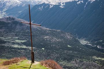 Wall Mural - Cross on the peak, Mestia region