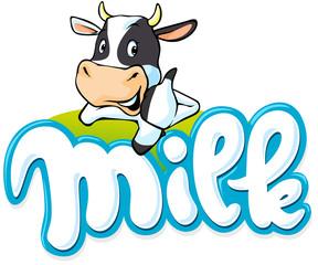 milk logo hand written with cow