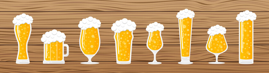 Banner with different beer glasses on wooden background. Vector.
