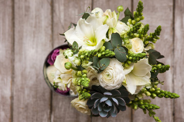 Bunch With White Roses And Succulent Top View On Wooden Background Gift For Mother Or
