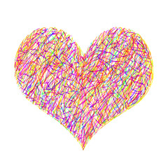 Abstract bright colorful heart on white background