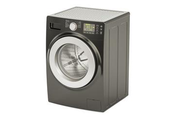 black washing machine, 3D rendering