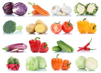 Spoed Foto op Canvas Keuken Gemüse Kartoffeln Karotten Tomaten Paprika Salat Essen Sammlung Freisteller freigestellt isoliert