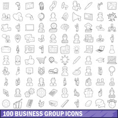 100 business group icons set, outline style