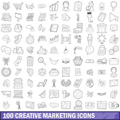 100 creative marketing icons set, outline style