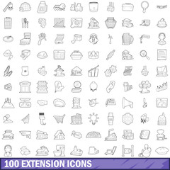 100 extension icons set, outline style
