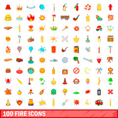 100 fire icons set, cartoon style