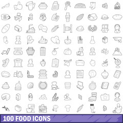 100 food icons set, outline style