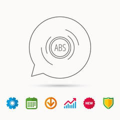 ABS icon. Brakes antilock system sign. Calendar, Graph chart and Cogwheel signs. Download and Shield web icons. Vector