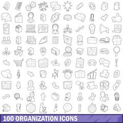 100 organization icons set, outline style