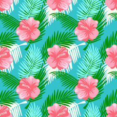 Seamless pattern with tropical fruits, flowers and palm leaves.